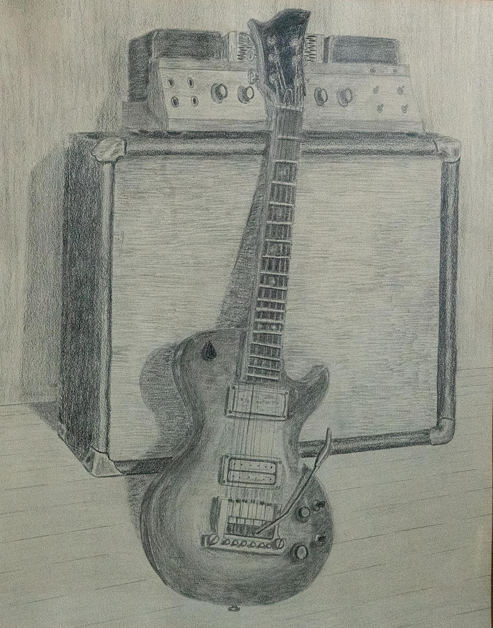 Guitar And Amp Drawing By John Draper