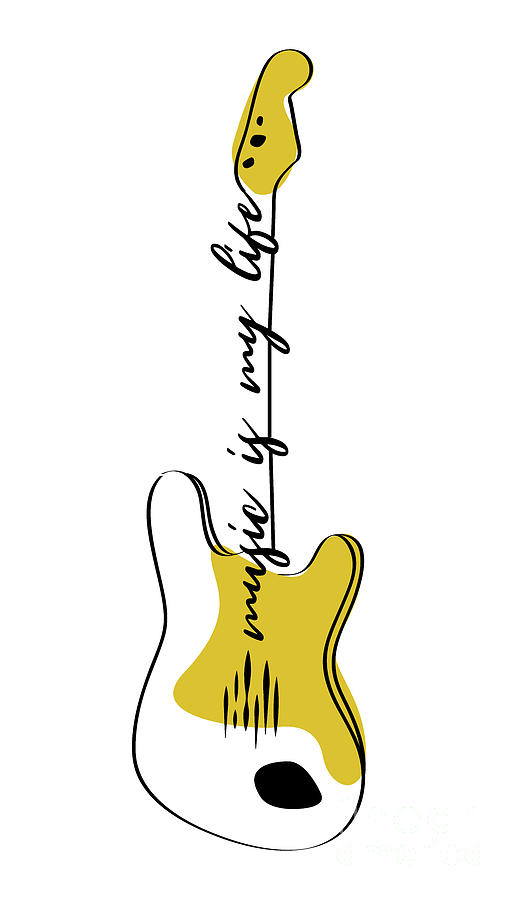 Guitar Modern Line Art Drawing By Donika Mishineva
