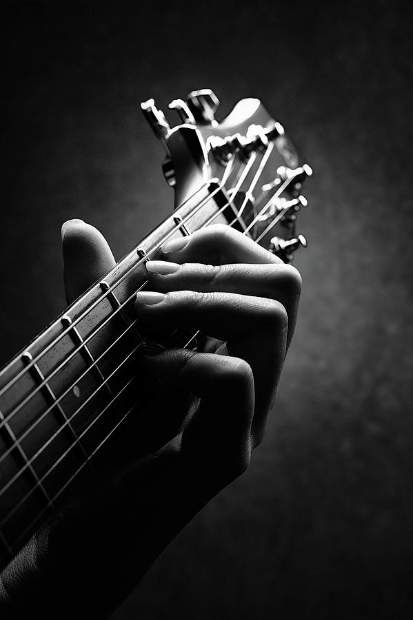 Guitar Photograph - Guitarist hand close-up by Johan Swanepoel