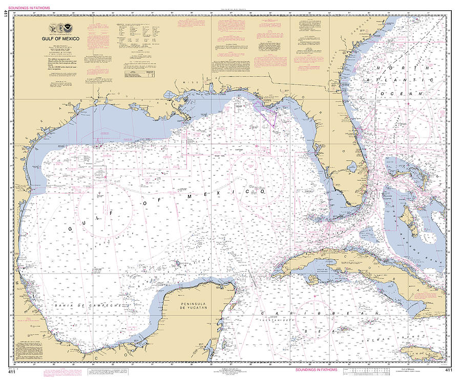 Gulf of Mexico, NOAA Chart 411 by Paul and Janice Russell