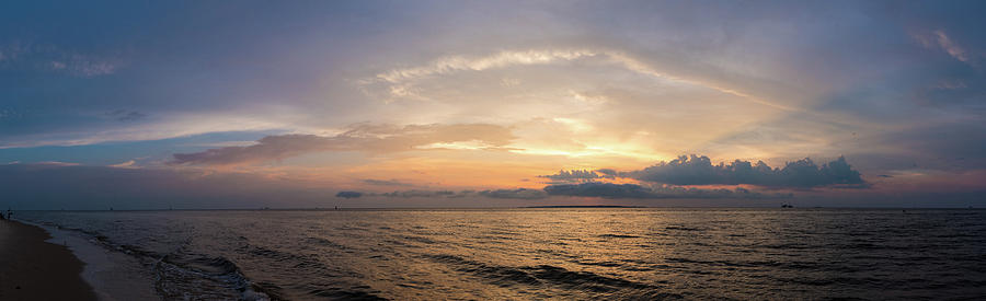 Gulf of Mexico Panorama - Golden Rays by James-Allen