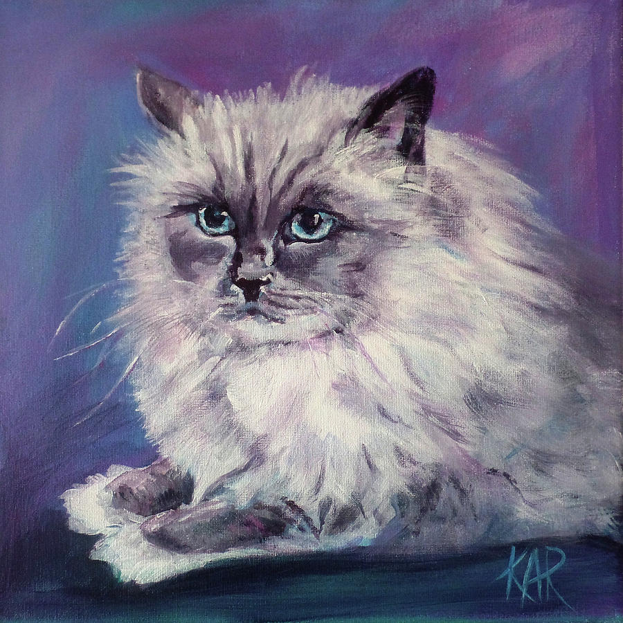 Cat Painting - Gussie by Art by Kar