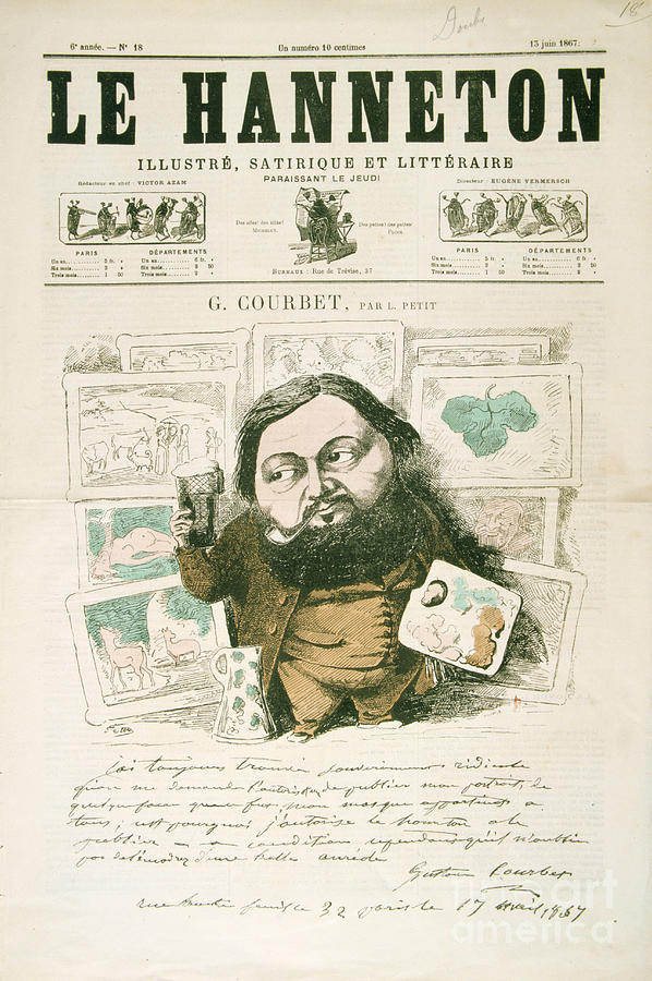 Gustave Courbet, French Painter, 1867 Drawing by Print Collector