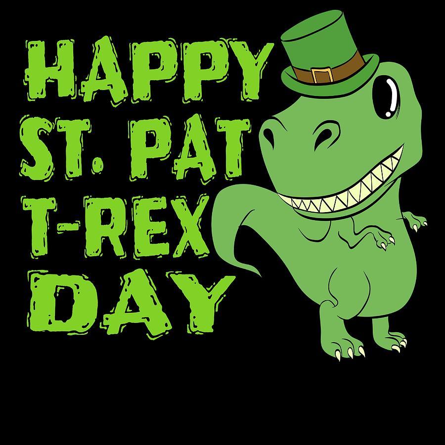 Patrick/'s Day Youth Kids T-Shirt Shamrock Irish T-Rex Dinosaur Clover St