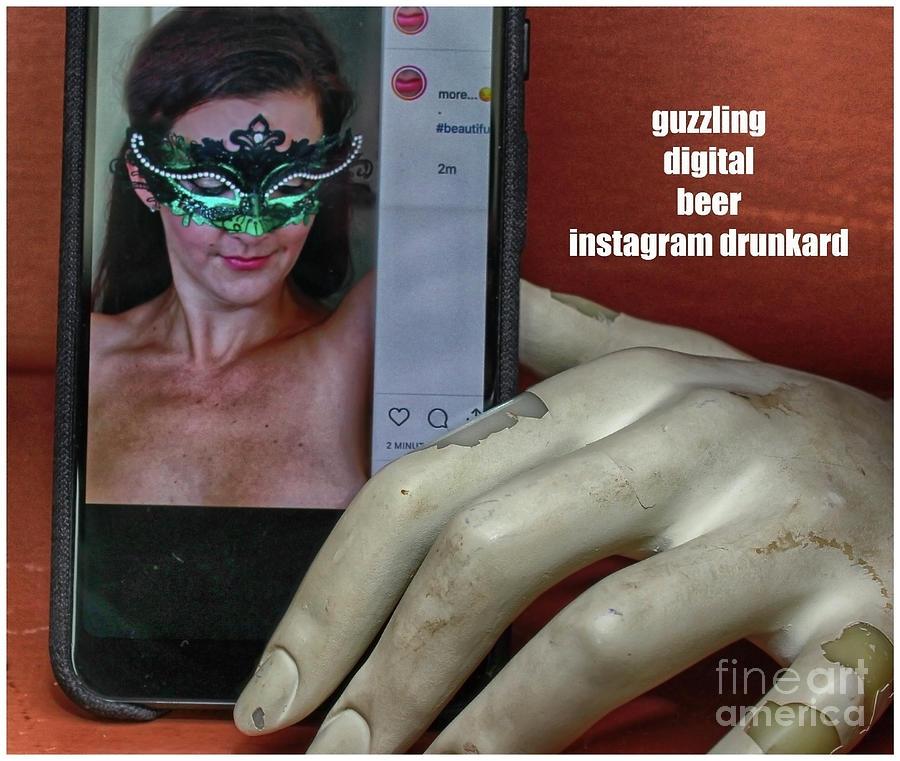 Beautiful Women Photograph - Guzzling Digital Beer  by Steven Digman