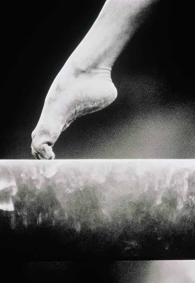 Gymnastics, Girls Foot On Balance Beam Photograph by David Madison