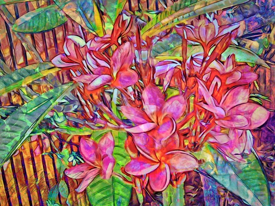 H Brilliant Magenta Frangipani Flowers - Horizontal by Lyn Voytershark