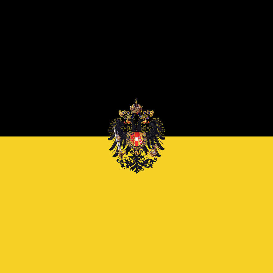 Crown Digital Art - Habsburg Flag With Small Imperial Coat Of Arms by Helga Novelli