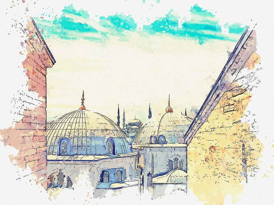 Hagia Sophia Mosque, Istanbul Turkey  C2019, Watercolor By Adam Asar Painting