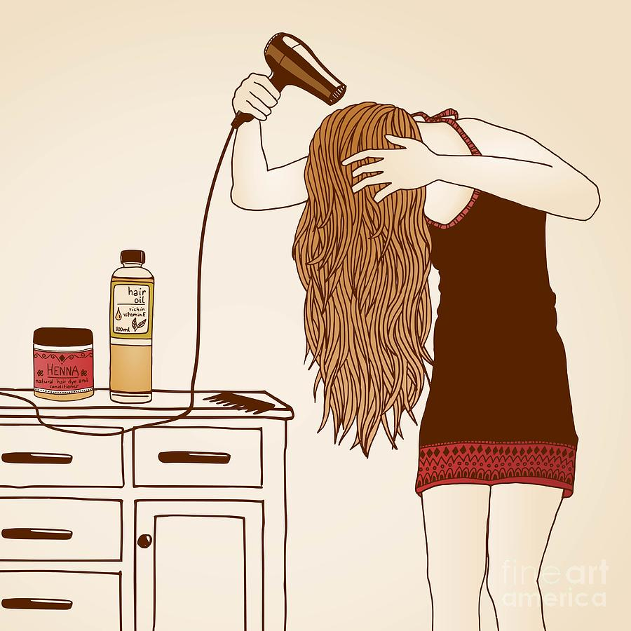 Shampoo Photograph - Hair Care Illustration No. 23 Colored by Franzi