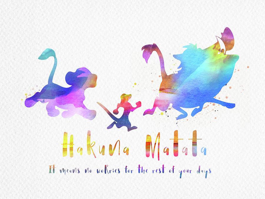 Hakuna Matata The Lion King Watercolor Digital Art By Mihaela Pater