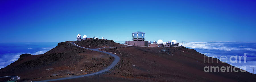 Haleakala over look astronomical observatory a-ray of telescopes   by Tom Jelen