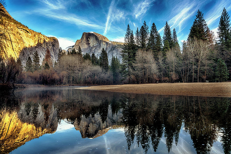 Half Dome Reflection Merced River Yosemite GRK1619_12192018-HDR3914  by Greg Kluempers