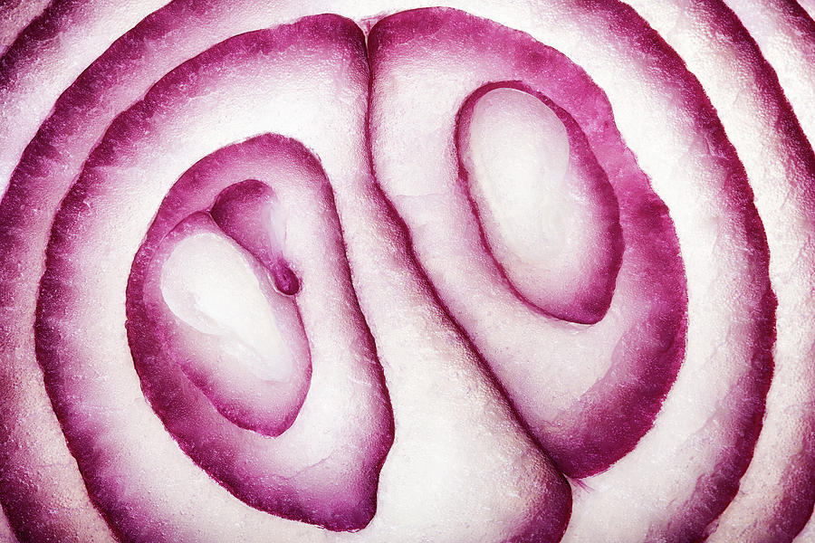 Half Red Onion Macro Photograph