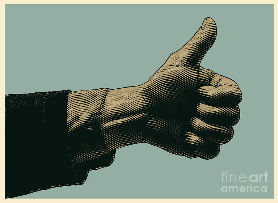Symbol Digital Art - Halftone Thumbs Up Symbol Engraved by Jumpingsack