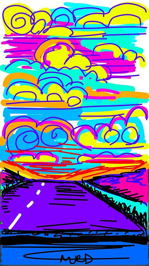 Road Digital Art - Halfway There by Madeline Dillner