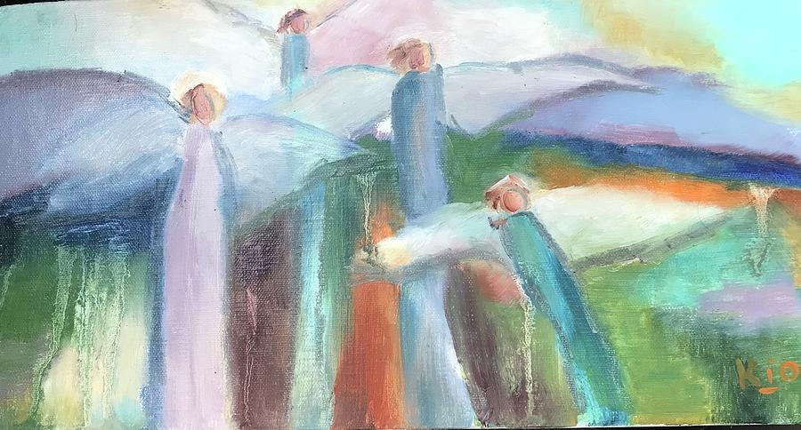 Angels Painting - Hallelujah Chorus by Karen Jordan
