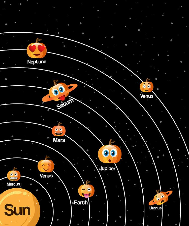 Halloween Gift For Astronomers Solar System Planets Drawing By Jk
