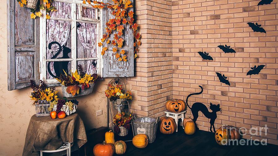 High Resolution Photograph - Halloween Jack O Lantern Pumpkin Heads Cats And Bats Decoration Ultra Hd by Hi Res