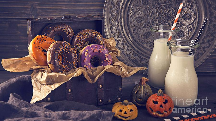 High Resolution Photograph - Halloween Jack O Lantern Pumpkin Heads Donuts And Milk Decoration Ultra Hd by Hi Res