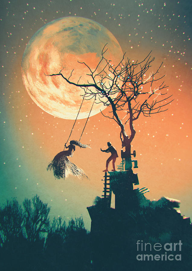 Beauty Digital Art - Halloween Night Background With Man by Tithi Luadthong