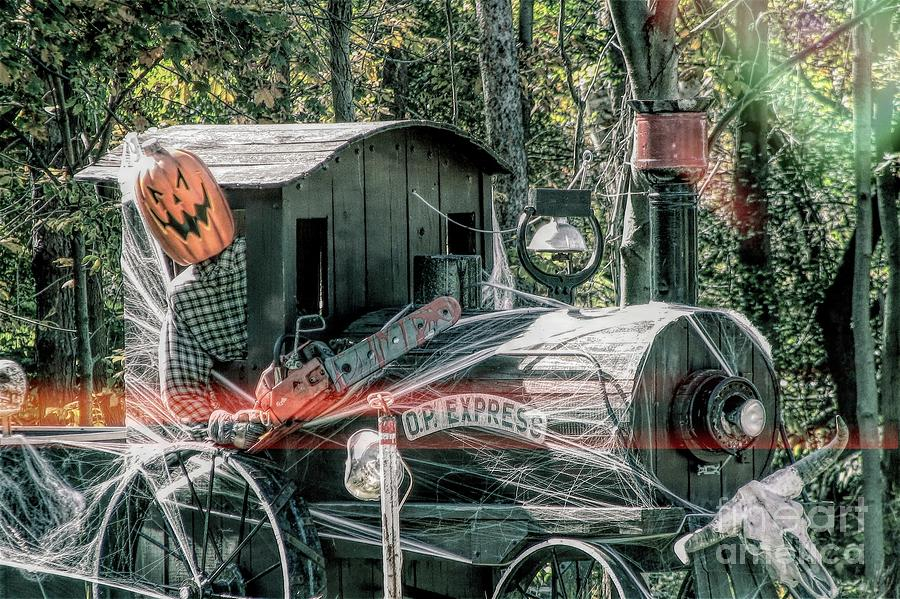 Halloween Train in Orchard Park NY with Grunge Light Effect by Rose Santuci-Sofranko