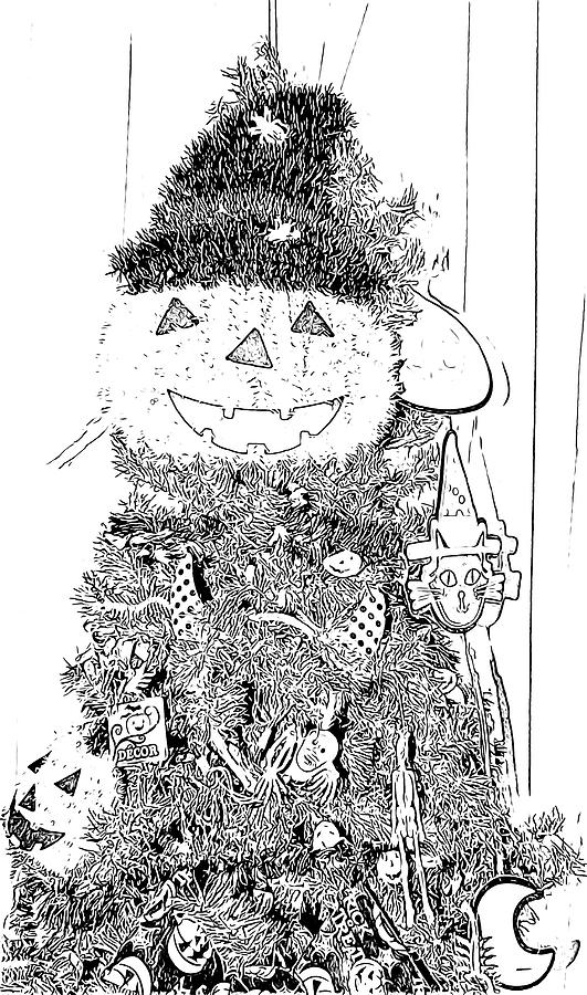 Halloween Digital Art - Halloween Tree Black And White Sketch by Marian Bell