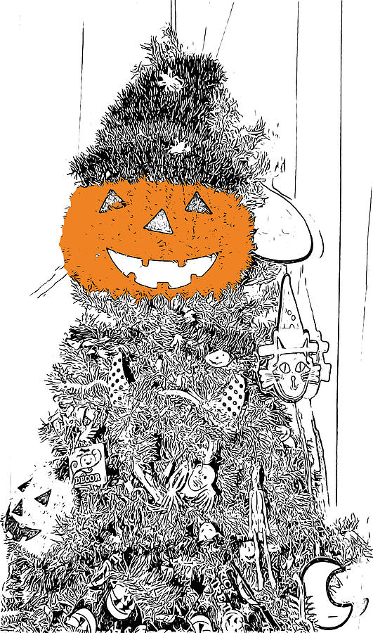 Halloween Digital Art - Halloween Tree Black And White Sketch With Orange Coloring by Marian Bell