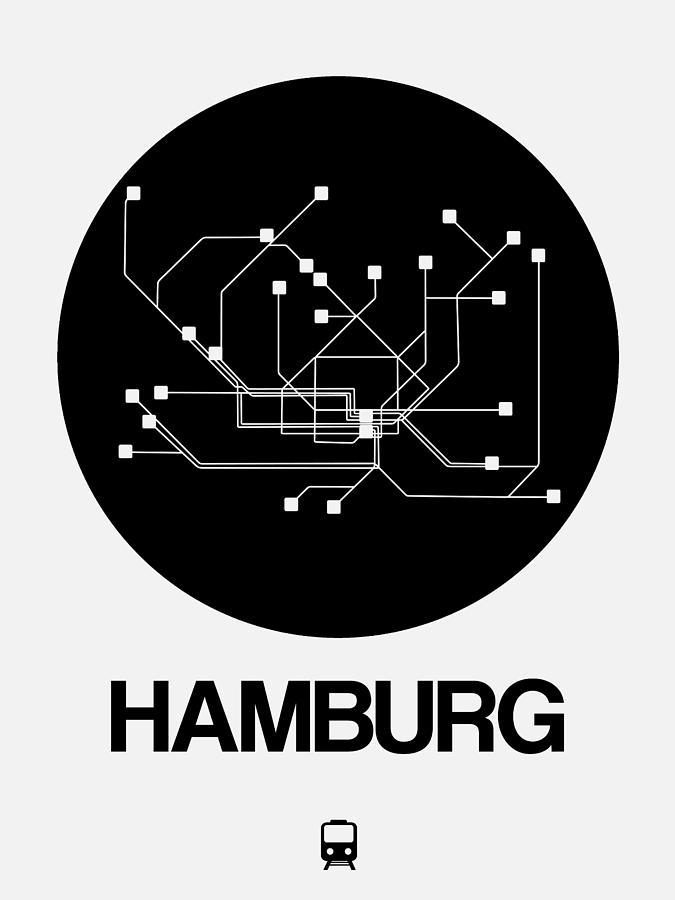 Vacation Digital Art - Hamburg Black Subway Map by Naxart Studio