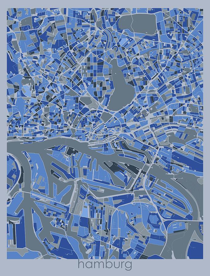 Hamburg Digital Art - Hamburg Map Retro 5 by Bekim M