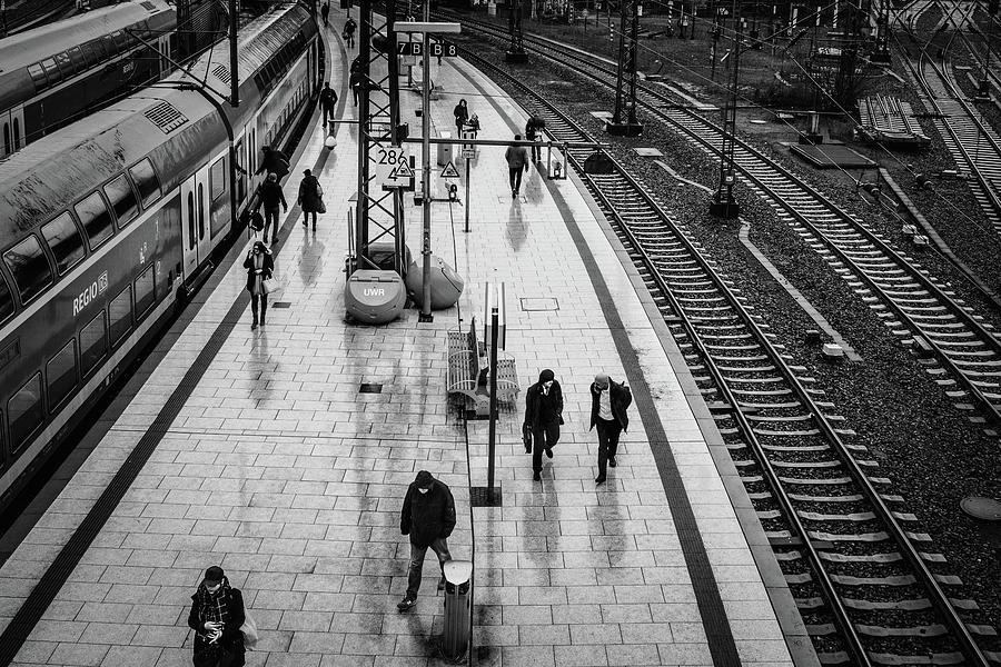 Train Photograph - Hamburg railway station by Ute Herzog