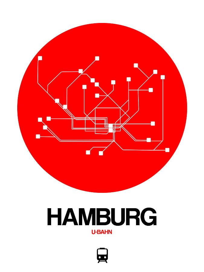 Vacation Digital Art - Hamburg Red Subway Map by Naxart Studio