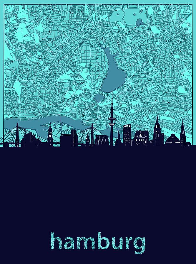 Hamburg Skyline Map Turquoise Digital Art
