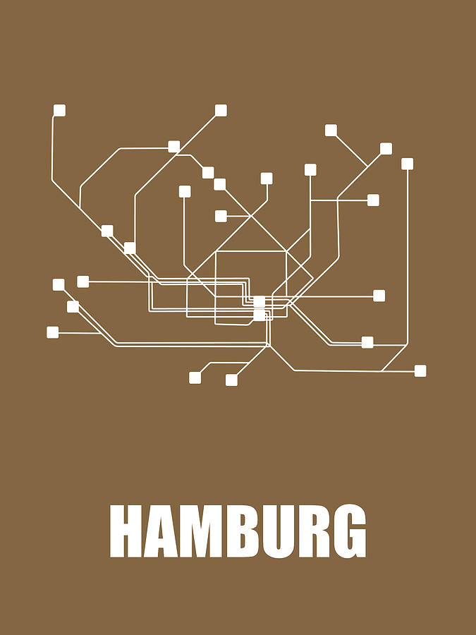 Hamburg Digital Art - Hamburg Subway Map 2 by Naxart Studio
