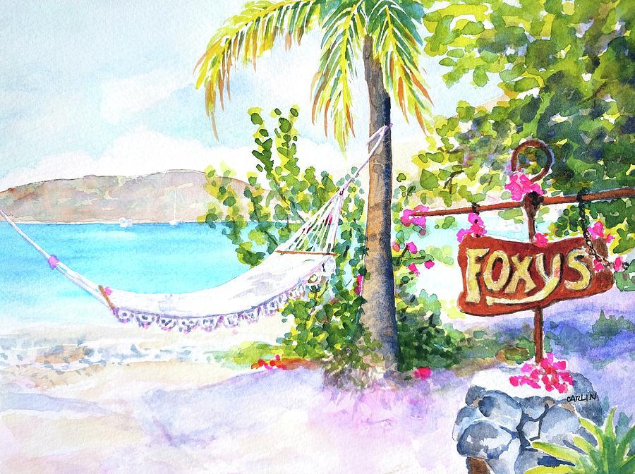 Hammock on Beach at Foxy's by Carlin Blahnik CarlinArtWatercolor