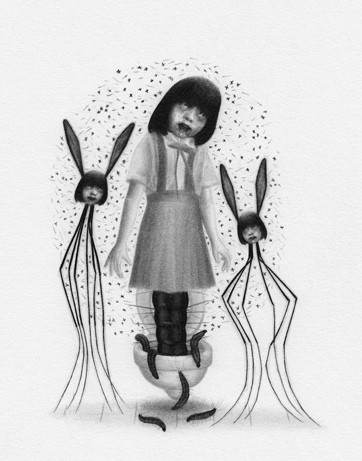 Horror Drawing - Hanako San - Artwork  by Ryan Nieves