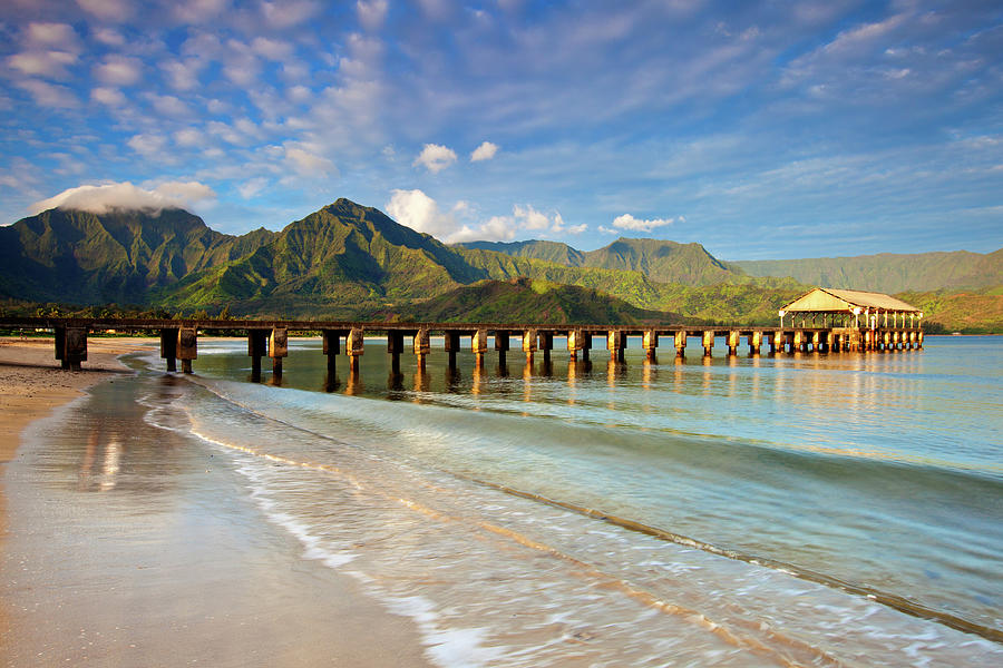 Hanalei Bay Pier Beach Photograph by M Swiet Productions