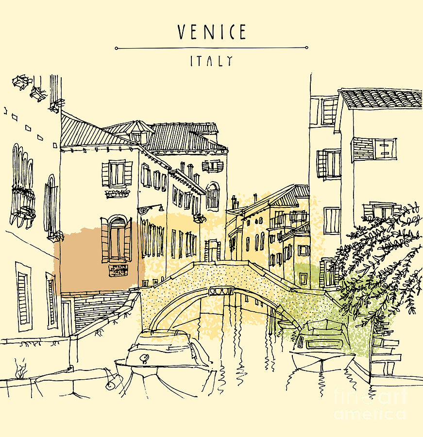 Channel Digital Art - Hand Drawing Of Venice, Italy, With A by Babayuka