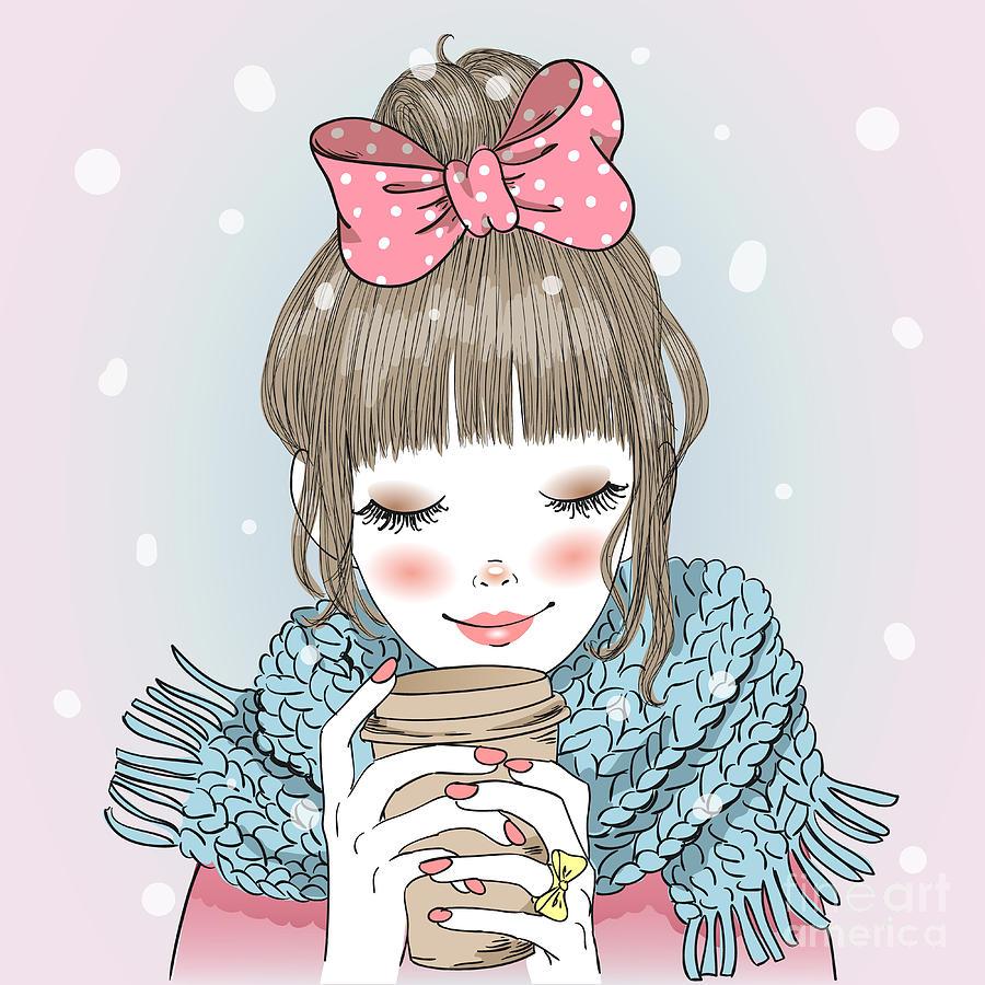 Heat Digital Art - Hand Drawn Beautiful Cute Girl With by Oksana Lysak