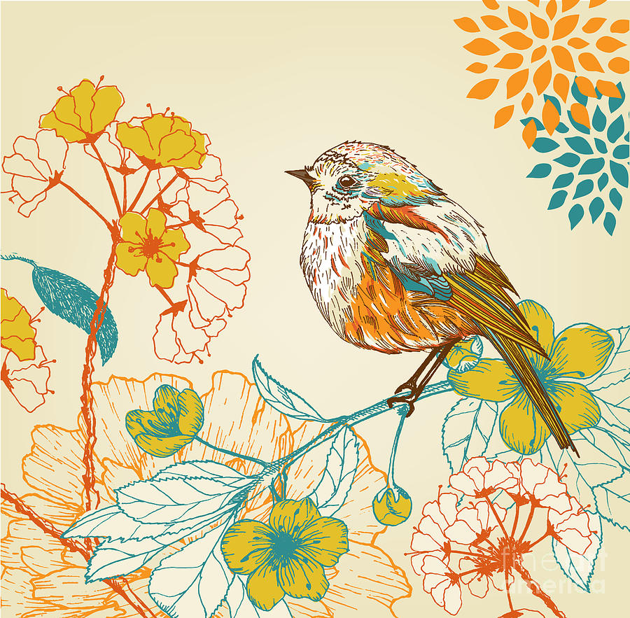 Curl Digital Art - Hand Drawn Bird In The Garden by Ri