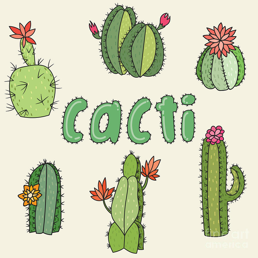 Thorns Digital Art - Hand Drawn Cactus Icons. Vector by Maria Sem
