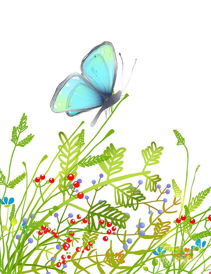 Delicate Digital Art - Hand Drawn Delicate Blue Butterfly by Popmarleo