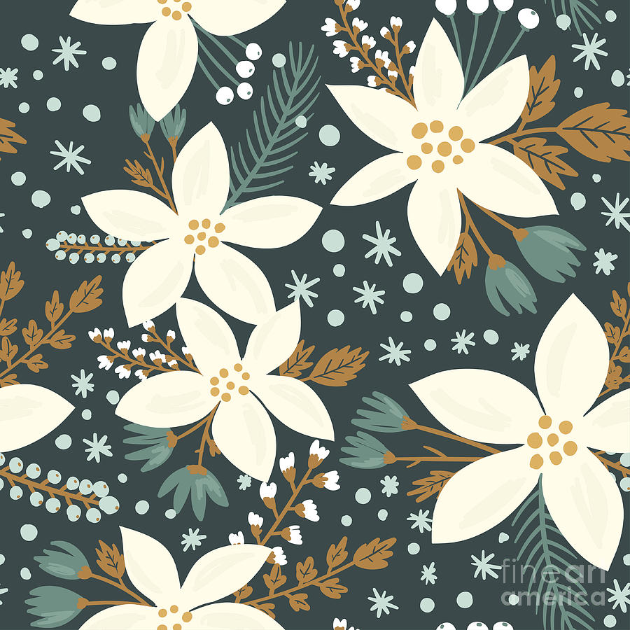 Love Digital Art - Hand Drawn Floral Seamless Vector by Artnis