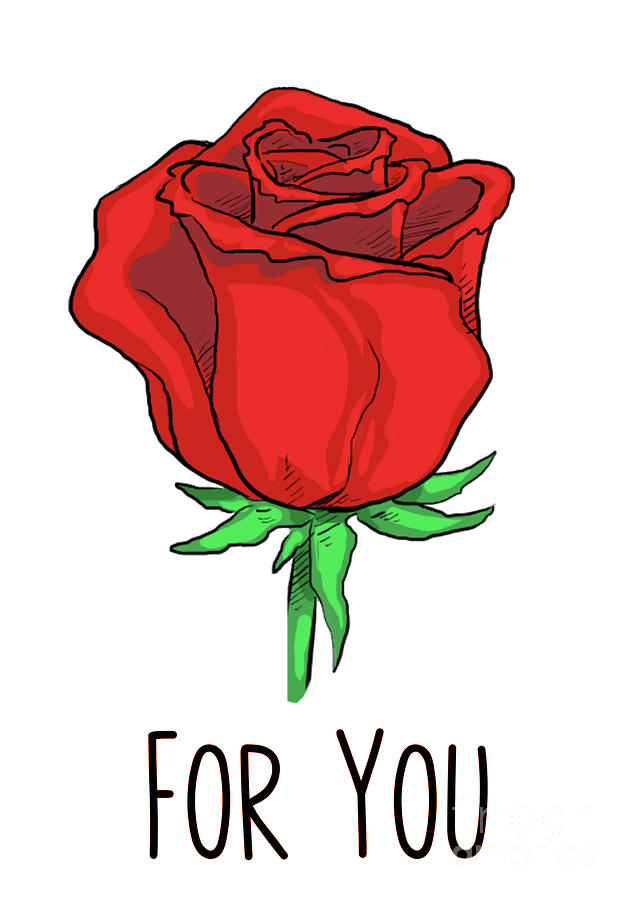Hand-Drawn Red Rose For You by Toula Mavridou-Messer