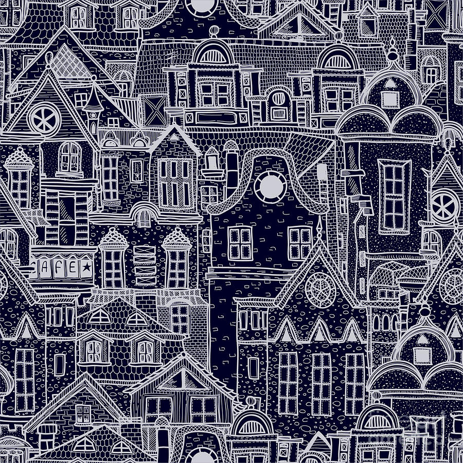 Facade Digital Art - Hand-drawn Seamless Pattern With Old by Elena Eskevich