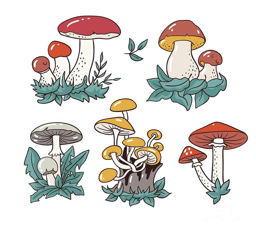 Hand Drawn Set With Cartoon Mushroom Digital Art by Utro na more