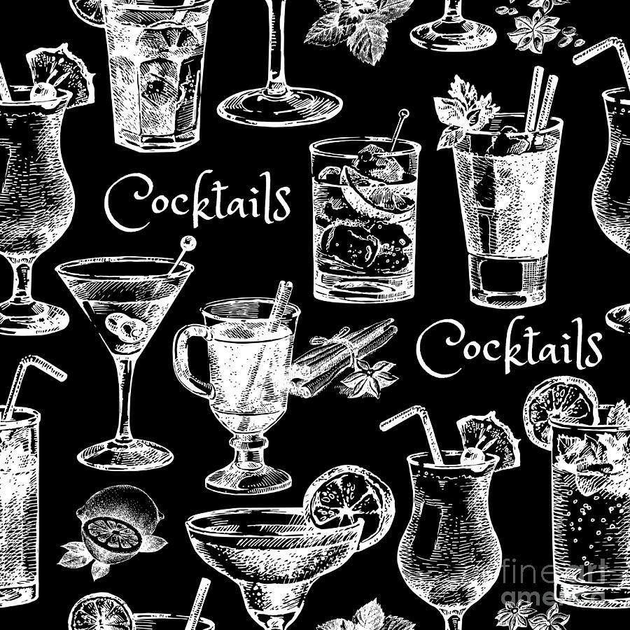 Ice Digital Art - Hand Drawn Sketch Cocktails Seamless by Pimlena