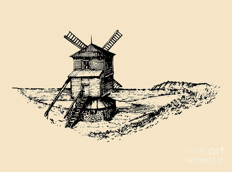 Engraving Digital Art - Hand Drawn Sketch Of Rustic Windmill At by Vlada Young