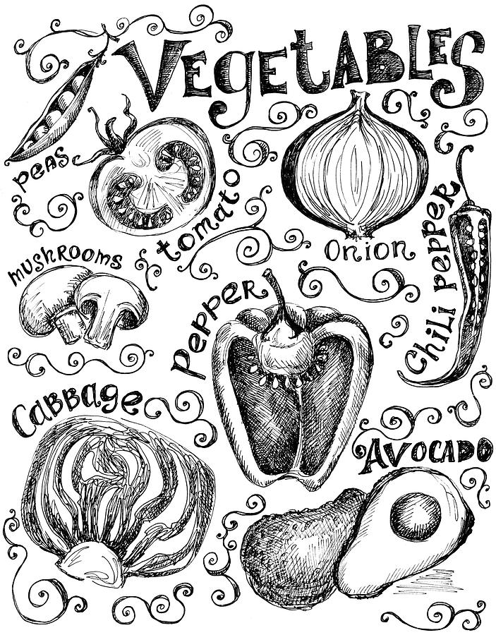 Hand Drawn Vegetable Graphics And Labels Digital Art by Kalistratova