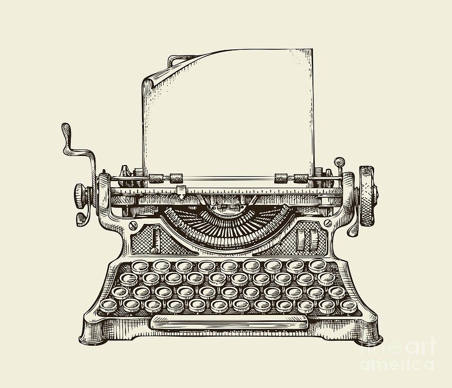 Mail Digital Art - Hand Drawn Vintage Typewriter. Sketch by Ava Bitter